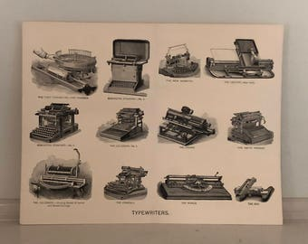C. 1893 TYPEWRITERS print - antique typewriter machines -  antique lithograph for writers