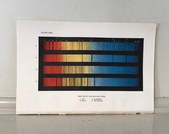 c. 1905 - COLOR SPECTRA print - original antique astronomy print - spectra of the sun and stars print