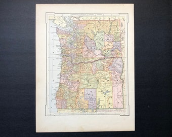 1887 WASHINGTON & OREGON map original antique map of the united states of america