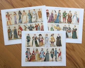 1894 COSTUME PRINTS -  original antique lithographs - traditional dress for Ancient and Middle Ages & 15th to 19th centuries -