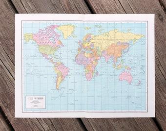c. 1946 VINTAGE WORLD MAP • original vintage map • vintage print • map of the World • International cartography • color lithograph