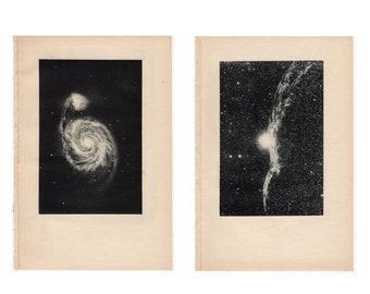 c. 1934 VINTAGE NEBULA PRINTS - set of 2 vintage astronomy prints - celestial prints - Spiral nebula & nebula in Cygnus • rare black version