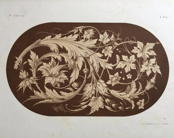 1866 BOTANICAL DECORATIVE DESIGN - rare original antique print - sepia lithograph - European design - Liénard ornamentation A