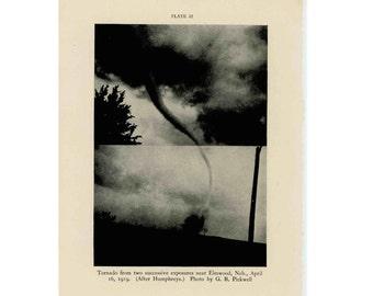 c. 1934 - TORNADO TWISTER LITHOGRAPH - original vintage print - weather wind vortex - whirlwinds cyclones