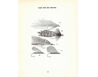 1970 FLY FISHING LITHOGRAPH -  original vintage fishing print - flies for sea fishing