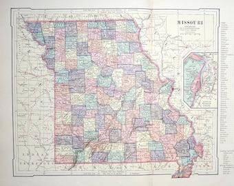 1887 MISSOURI USA MAP original antique map of united states of america