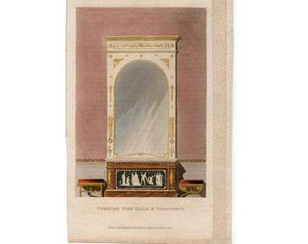 1818 COMMODE PIER Glass Tabourets Original Antique Furniture Home Decorative Hand Colored Engraving