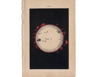Sonne Corona Sonnenflecken Sonnenfinsternis Chromolithographie 1892