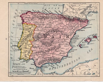 Small Map Of Spain.Small Map Of Spain Etsy
