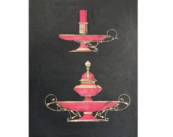 1866 ANTIQUE RED VASES /& bottles lithograph rare unusual original antique hand colored print