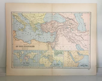 Old bible map etsy 1893 bible map countries in the bible antique map map of the world old world map map of the countries mentioned in the bible gumiabroncs Gallery
