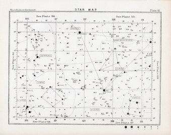1892 STAR MAP LITHOGRAPH 61 astronomy antique print