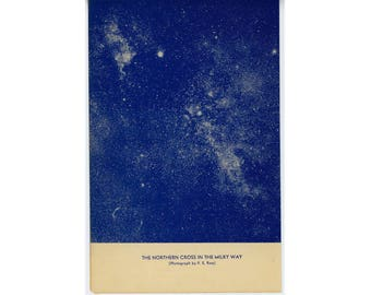 c. 1934 NORTHERN CROSS ASTERISM in the Milky Way - original vintage print - blue stars astronomy lithograph - spiral galaxy on reverse