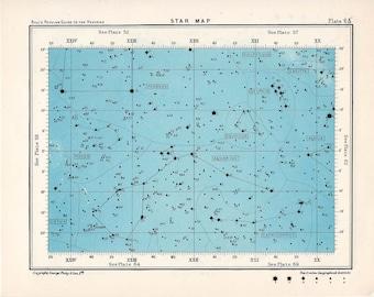 1955 star map 63 constellations original vintage celestial print rectangle