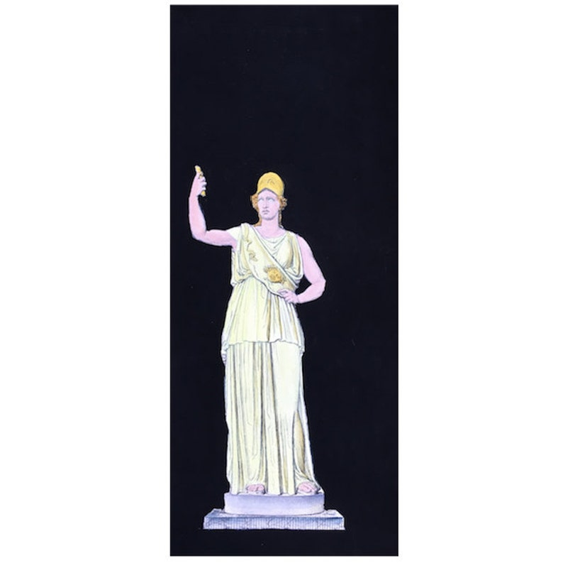 ANTIQUE STATUE PRINT from 1700\u2019s statuary print classic statue engraving ancient Rome art woman warrior print French statue print