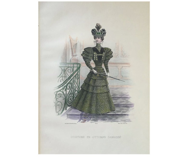 Antique French Fashion Lithograph Original Antique Print Etsy