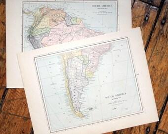 1887 south america original antique map of the the world