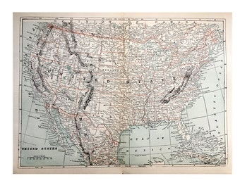 c. 1910 UNITED STATES of AMERICA antique map lithograph -  original antique print - maps of the world - international cartography