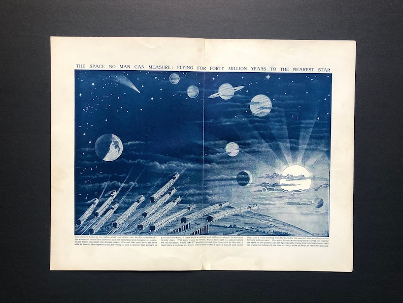 c. 1912 OUTER SPACE print  original antique astronomy print  image 0