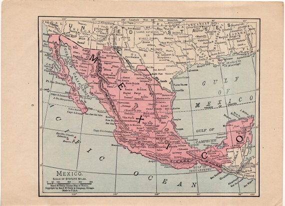 C 1930 Mexico Canada Mini Map Original Vintage Map Etsy