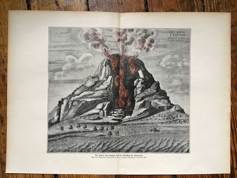 1900 VOLCANO ERUPTING LITHOGRAPH original antique print of mount vesuvius c