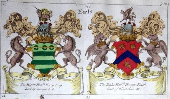 c 1679 DISPLAY OF HERALDRY \u2022 original antique print \u2022 Coat of Arms print \u2022 family crest print \u2022 Heraldic Achievements of Esquires \u2022