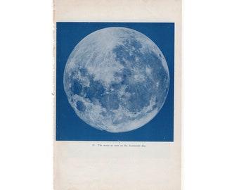 c. 1944 FULL MOON print - original vintage astronomy print - milky way galaxy print - lunar print - blue lithograph