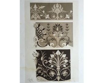 1866 DECORATIVE DESIGN BOTANICAL - rare original antique print - sepia lithograph - Liénard ornamentation - european botanical flourishes C