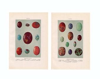 1934 SEMI PRECIOUS STONES prints - original vintage gem lithographs -  set of two prints