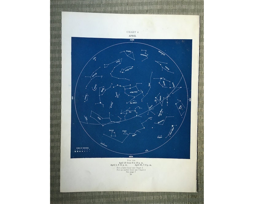 1943 April Stars Lithograph Constellation Monthly Star Map Etsy