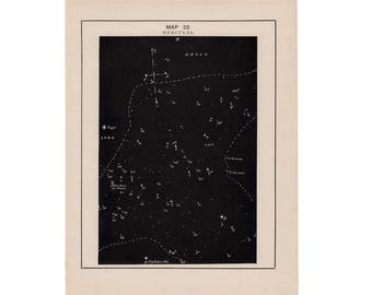1891 HERCULES constellation print - original antique astronomy lithograph - celestial star map - star chart of the sky - stars print