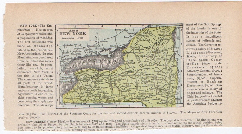 Map Of New York And Ohio.1910 Antique Map New York Ohio Original Lithograph Print From 1910 Usa United States Atlas Globe Cartography North And South