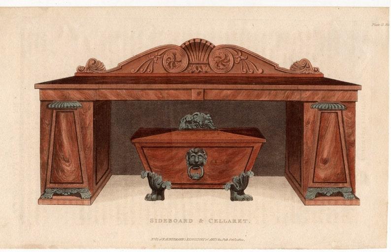 sideboard /& cellaret bar original antique furniture home decorative engraving 1822 FURNITURE cabinet for keeping wine and liquor