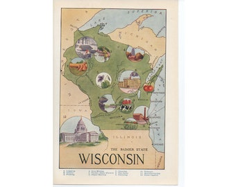 c. 1946 WISCONSIN state print - vintage print of the United States of America - USA print -Badger State