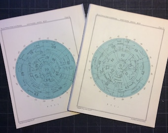 1955 INDEX SKY CHART lithographs - northern & southern maps original vintage celestial prints - set of two