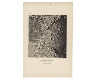 c. 1891 ANTIQUE MOON CRATER print • original antique print • celestial print • astronomy print • lunar landscape • Crater