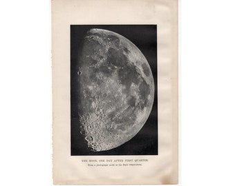c. 1903 MOON PRINT - antique moon lithograph -  lunar print - astronomy print - the moon one day after first quarter