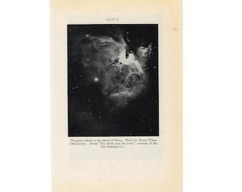 c. 1934 ORION GALAXY print original vintage celestial astronomy lithograph - constellation - The Hunter - with types nebulae on the back