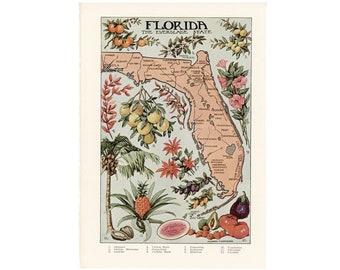 c. 1946 FLORIDA print • original vintage print • United States of America • USA print • State of Florida map • The Sunshine State
