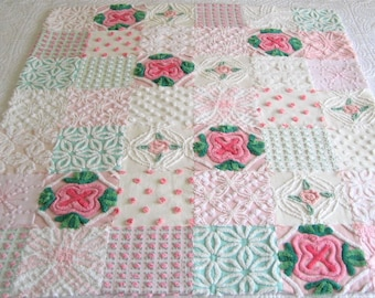 Vintage Chenille DOLL Quilt and Pillow Purple and White 24 x 28 Custom Order Pink
