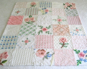 """Custom Made Vintage Chenille Bedspread Fabric Baby / Lap Quilt -  """"Rose Garden"""" -  Heirloom quality bedding for your little one."""