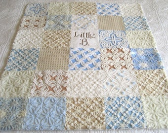 "Personalized Vintage Chenille Baby Quilt -  ""Little B "" - Custom -Heirloom quality bedding for your little one. 38"" x 45"""