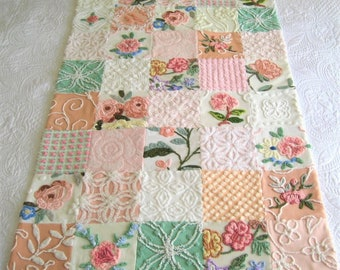 "Custom Ordered  Heirloom Quality  ""Rose Garden"" - Vintage Chenille Baby Quilt  32"" x 50"""