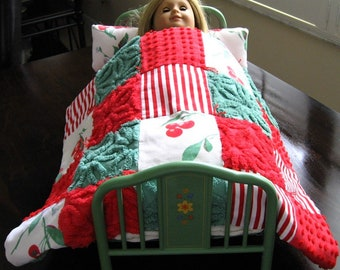 Ready to ship! Cherry Christmas American Girl DOLL Vintage Chenille Bedspread Quilt and Pillow