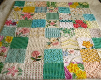 Blast of Color Vintage Chenille Quilt / Throw