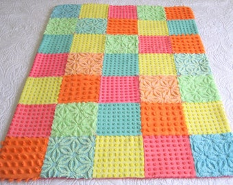 "Ready to ship - Vintage Chenille Baby Quilt -  "" Bright and Brighter"" - Heirloom quality handmade vintage chenille baby quilt"