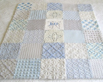 "Personalized Vintage Chenille Baby Quilt -  ""Jett "" - Custom -Heirloom quality bedding for your little one. 38"" x 45"""