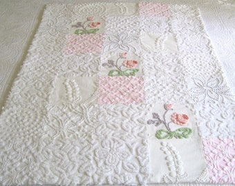 """Ready to Ship  Gorgeous Heirloom Quality Vintage Chenille Bedspread """"Princess""""  Baby Quilt - 38"""" x 53"""""""