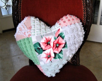 "Handmade Valentine Patchwork Heart Pillow - Wilendur Morning Glories Nosegay and Vintage Chenille 17"" x 17"""