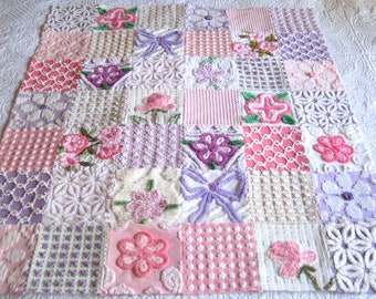 "Made to Order Heirloom Quality Vintage Chenille Baby Quilt -  ""Pink 'n Purple""  39"" x 46"""